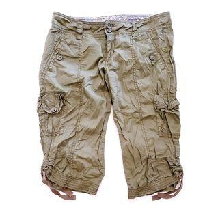 Anthro Hei Hei Green Khaki Cargo Bermuda Shorts 2
